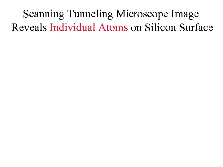 Scanning Tunneling Microscope Image Reveals Individual Atoms on Silicon Surface