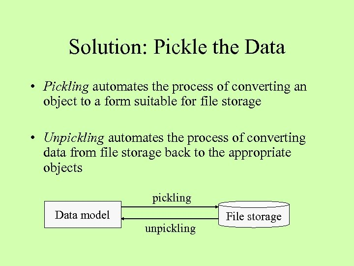 Solution: Pickle the Data • Pickling automates the process of converting an object to