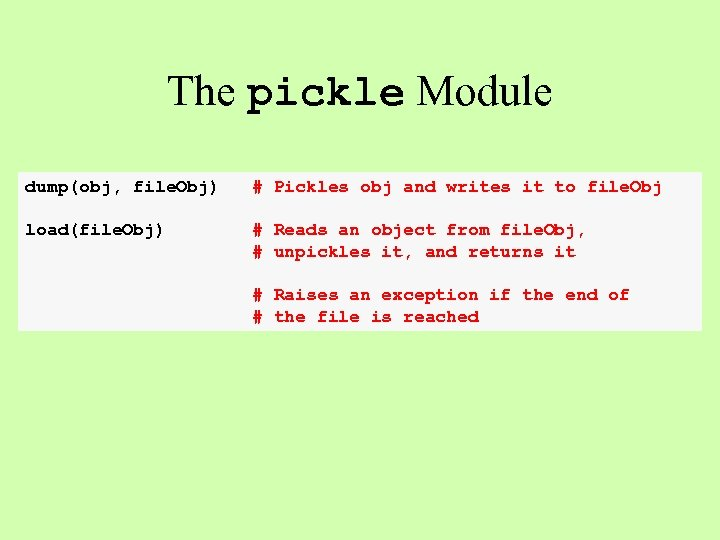 The pickle Module dump(obj, file. Obj) # Pickles obj and writes it to file.