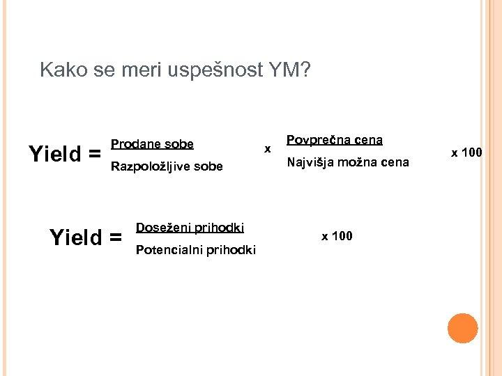 Kako se meri uspešnost YM? Yield = Prodane sobe Razpoložljive sobe Yield = Doseženi