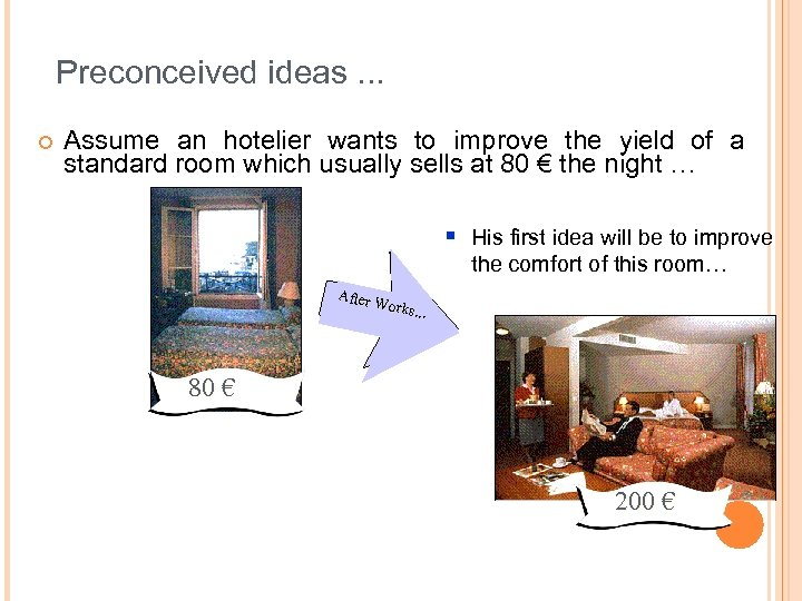 Preconceived ideas. . . ¢ Assume an hotelier wants to improve the yield of