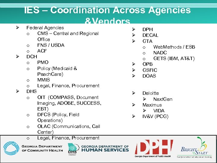 Ø IES – Coordination Across Agencies &Vendors Federal Agencies o Ø Ø CMS –