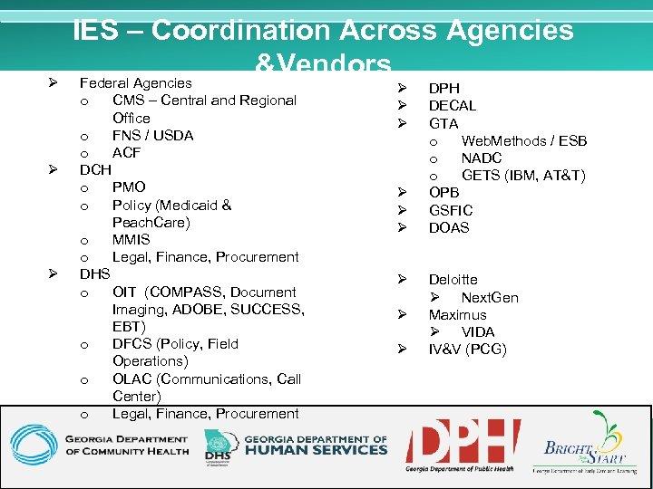 Ø IES – Coordination Across Agencies &Vendors Federal Agencies o Ø Ø CMS –