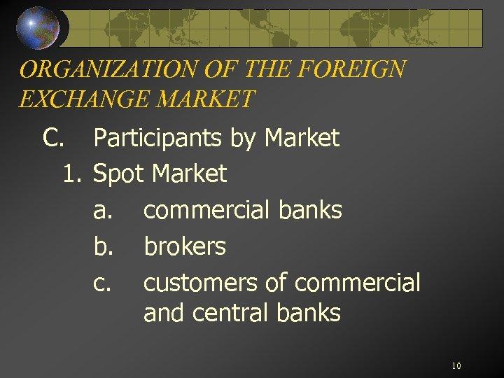 ORGANIZATION OF THE FOREIGN EXCHANGE MARKET C. Participants by Market 1. Spot Market a.