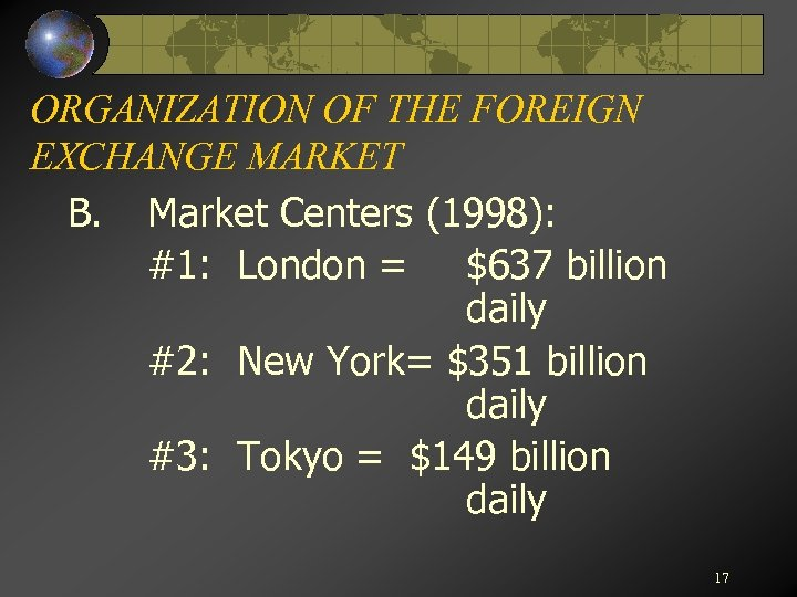 ORGANIZATION OF THE FOREIGN EXCHANGE MARKET B. Market Centers (1998): #1: London = $637
