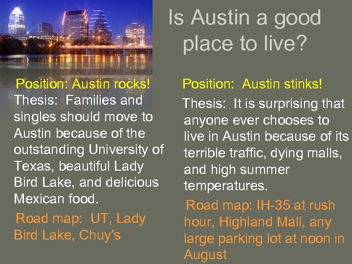 Is Austin a good place to live? Position: Austin rocks! Thesis: Families and singles