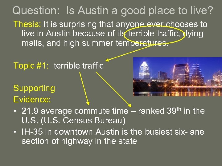 Question: Is Austin a good place to live? Thesis: It is surprising that anyone