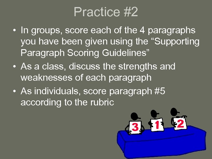 Practice #2 • In groups, score each of the 4 paragraphs you have been