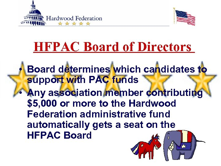 HFPAC Board of Directors • Board determines which candidates to support with PAC funds