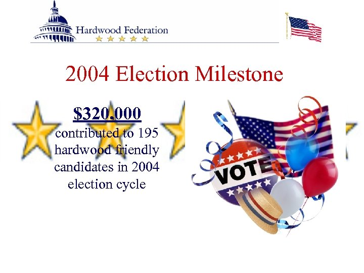 2004 Election Milestone $320, 000 contributed to 195 hardwood friendly candidates in 2004 election