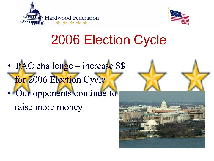 2006 Election Cycle • PAC challenge – increase $$ for 2006 Election Cycle •