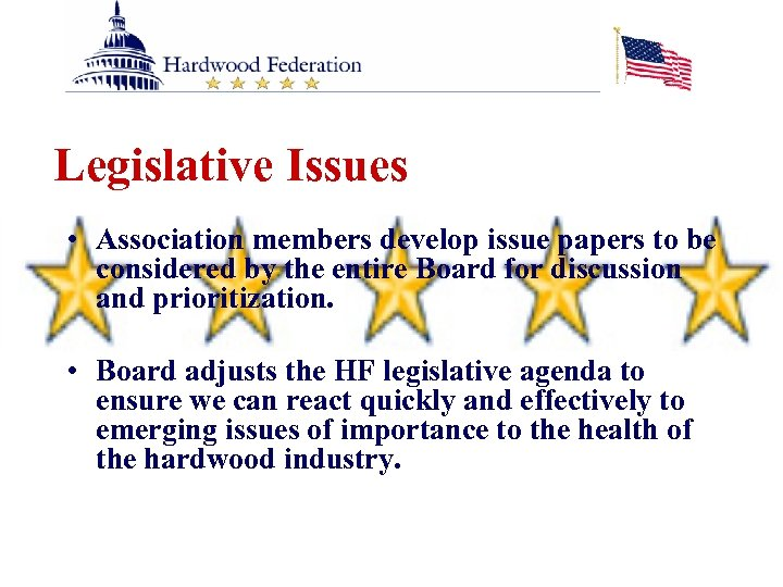 Legislative Issues • Association members develop issue papers to be considered by the entire