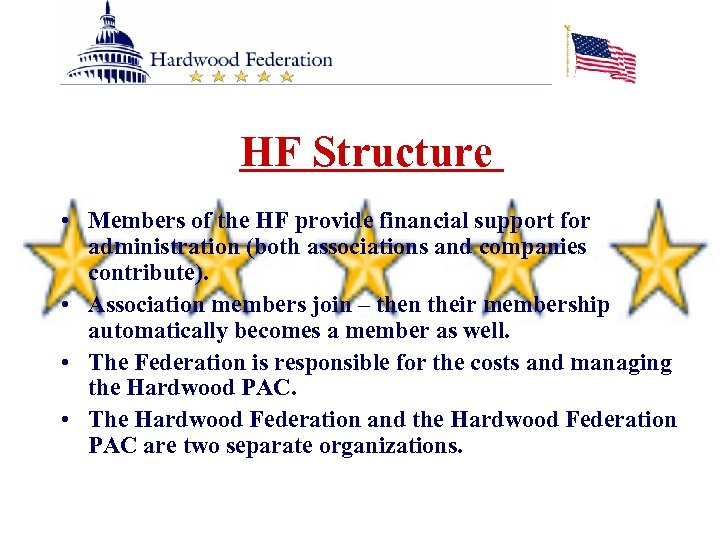 HF Structure • Members of the HF provide financial support for administration (both associations