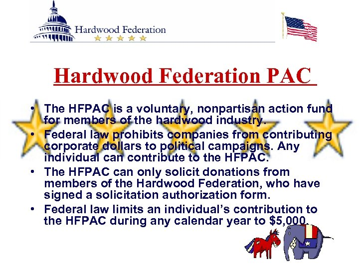 Hardwood Federation PAC • The HFPAC is a voluntary, nonpartisan action fund for members