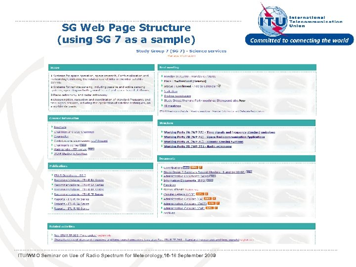 SG Web Page Structure (using SG 7 as a sample) ITU/WMO Seminar on Use