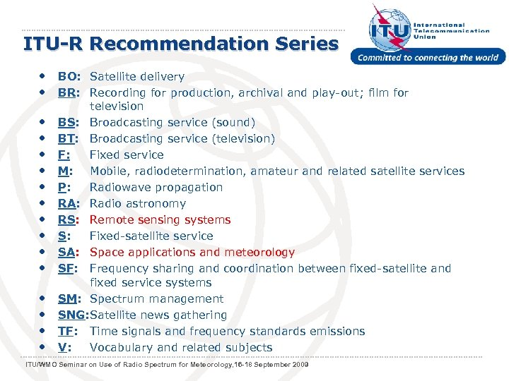 ITU-R Recommendation Series • BO: Satellite delivery • BR: Recording for production, archival and