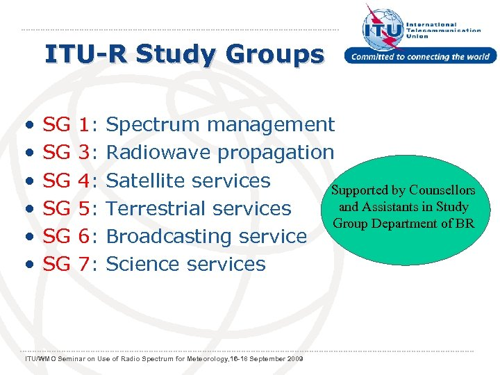 ITU-R Study Groups • • • SG 1: Spectrum management SG 3: Radiowave propagation