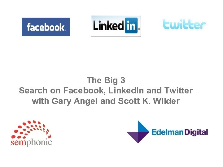 The Big 3 Search on Facebook, Linked. In and Twitter with Gary Angel and