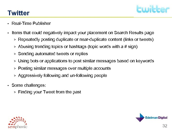 Twitter • Real-Time Publisher • Items that could negatively impact your placement on Search