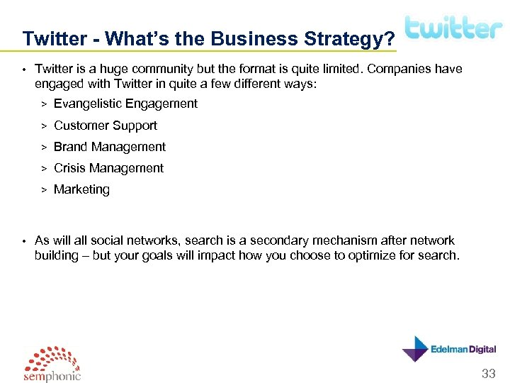 Twitter - What's the Business Strategy? • Twitter is a huge community but the