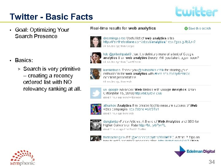 Twitter - Basic Facts • Goal: Optimizing Your Search Presence • Basics: > Search