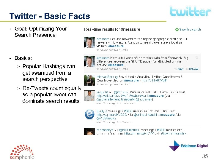 Twitter - Basic Facts • Goal: Optimizing Your Search Presence • Basics: > Popular