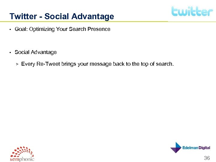 Twitter - Social Advantage • Goal: Optimizing Your Search Presence • Social Advantage >