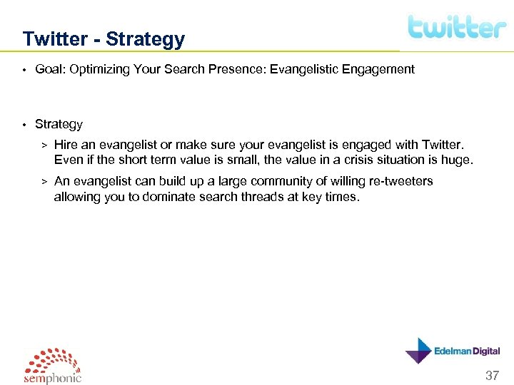 Twitter - Strategy • Goal: Optimizing Your Search Presence: Evangelistic Engagement • Strategy >