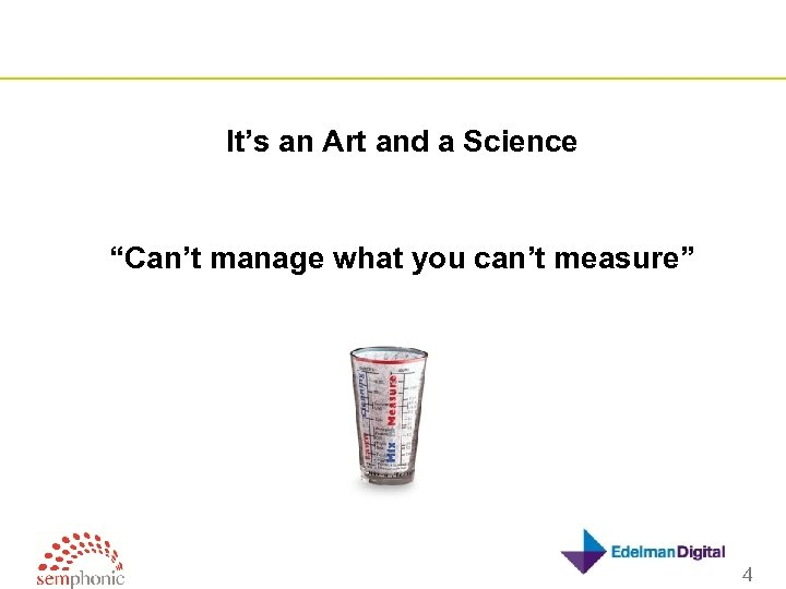 "It's an Art and a Science ""Can't manage what you can't measure"" 4"