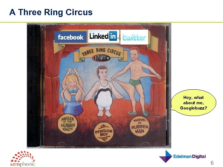 A Three Ring Circus Hey, what about me, Googlebuzz? 6