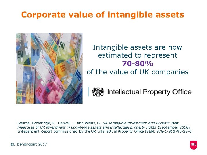 Corporate value of intangible assets Intangible assets are now estimated to represent 70 -80%