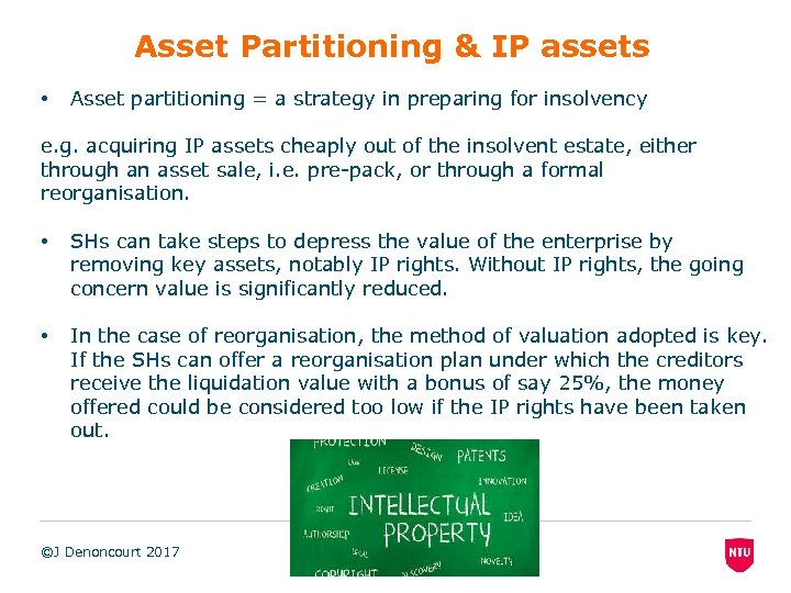 Asset Partitioning & IP assets • Asset partitioning = a strategy in preparing for
