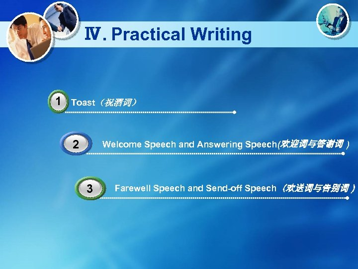 Ⅳ. Practical Writing 1 Toast(祝酒词) Welcome Speech and Answering Speech(欢迎词与答谢词 ) 2 3 Farewell