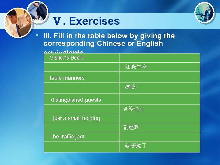 Ⅴ. Exercises § III. Fill in the table below by giving the corresponding Chinese
