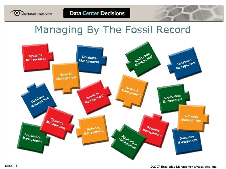 Managing By The Fossil Record Slide 16 © 2007 Enterprise Management Associates, Inc.