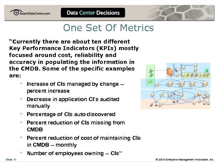 "One Set Of Metrics ""Currently there about ten different Key Performance Indicators (KPIs) mostly"