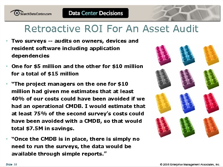 Retroactive ROI For An Asset Audit • Two surveys -- audits on owners, devices