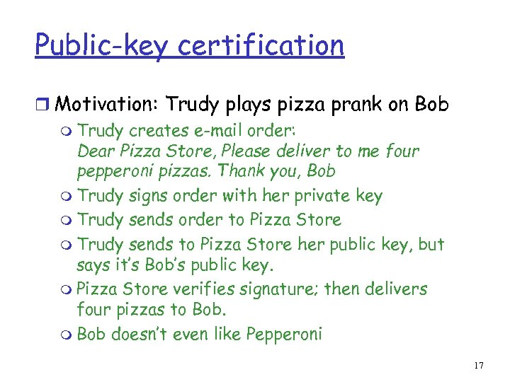 Public-key certification r Motivation: Trudy plays pizza prank on Bob m Trudy creates e-mail