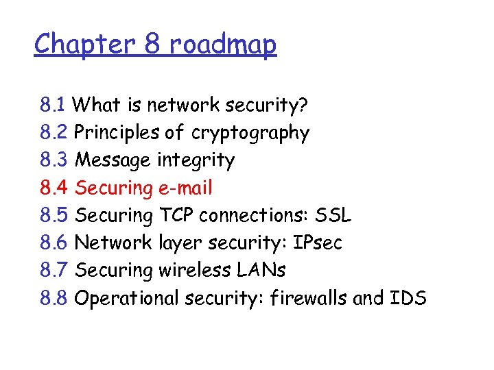 Chapter 8 roadmap 8. 1 What is network security? 8. 2 Principles of cryptography