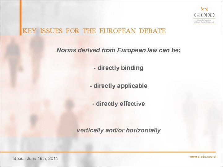 KEY ISSUES FOR THE EUROPEAN DEBATE Norms derived from European law can be: -