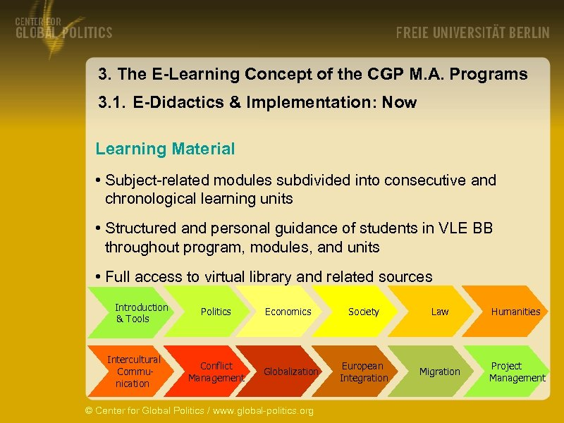 3. The E-Learning Concept of the CGP M. A. Programs 3. 1. E-Didactics &