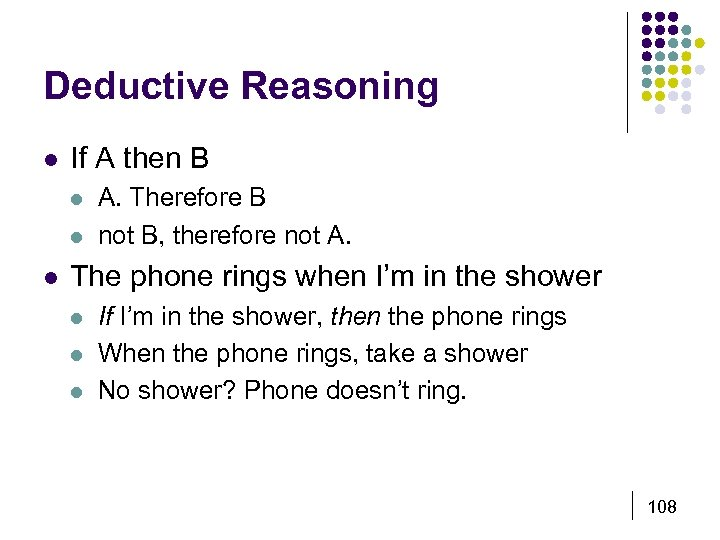 Deductive Reasoning l If A then B l l l A. Therefore B not