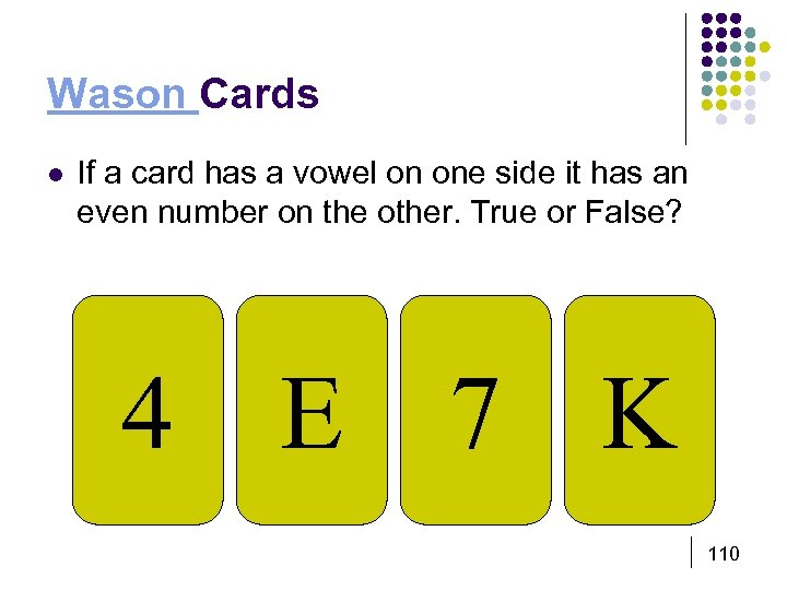 Wason Cards l If a card has a vowel on one side it has