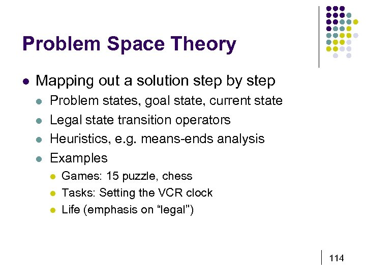 Problem Space Theory l Mapping out a solution step by step l l Problem