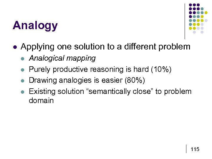Analogy l Applying one solution to a different problem l l Analogical mapping Purely