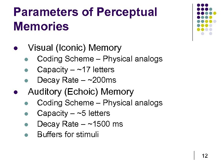 Parameters of Perceptual Memories l Visual (Iconic) Memory l l Coding Scheme – Physical
