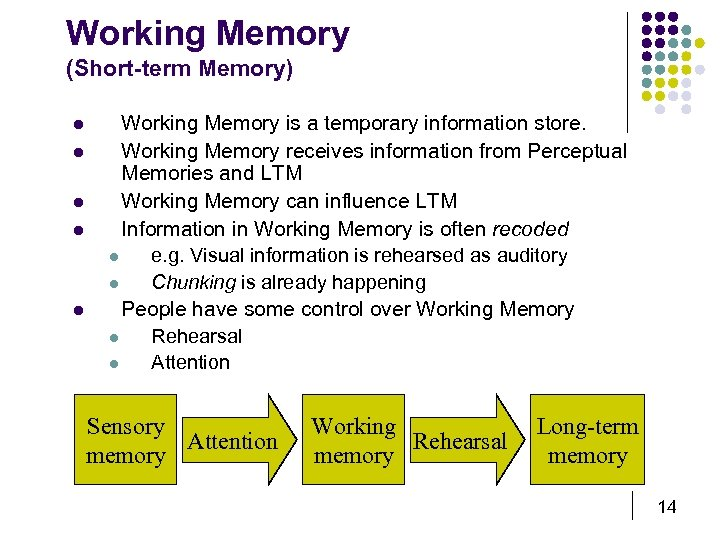 Working Memory (Short-term Memory) l l l Working Memory is a temporary information store.