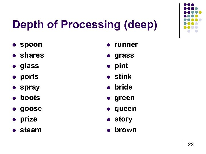 Depth of Processing (deep) l l l l l spoon shares glass ports spray