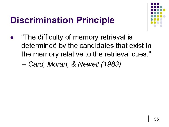 "Discrimination Principle l ""The difficulty of memory retrieval is determined by the candidates that"