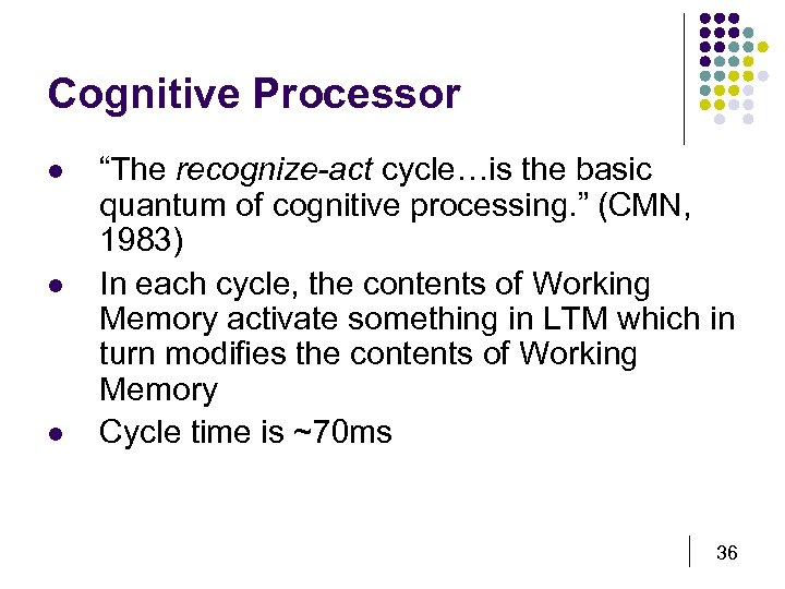 "Cognitive Processor l l l ""The recognize-act cycle…is the basic quantum of cognitive processing."
